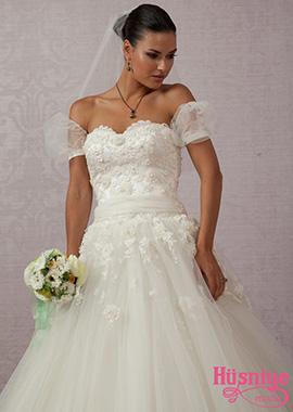 2019Kısa kollu dantelli, çiçekli, kemerli tül kır düğünü gelinlik modeli