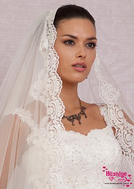 2017Dantelli Rahibe Duvak, Uzun İşlemeli