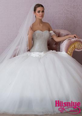 2018Taşlı parlak kabarık tül etekli prenses gelinlik modeli