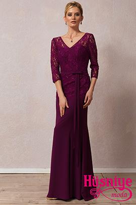 2019Mor renk, kapalı kollu, fransız dantelli, V yaka A model gece elbisesi.
