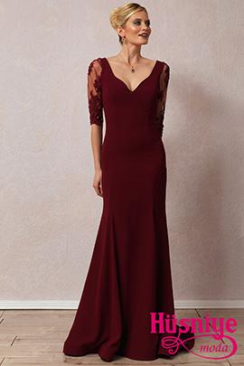 2018Bordo, kollu, sırt dekolteli balık model gece elbisesi