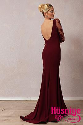 2019Bordo, kollu, sırt dekolteli balık model gece elbisesi